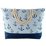 Bolsa de playa grande de lona para el verano o viaje. Shopper, bolsa tote de con cremallera. Shopper capazo divertido perfecto para playa o piscina. Medidas :54x37x13cm (Azul Celeste Ancla)
