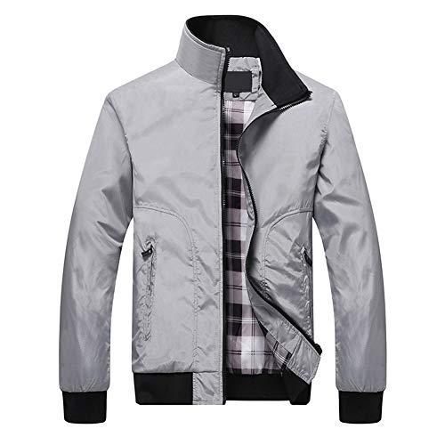 Allthemen Mens Jackets Lightweight Casual Bomber Jacket Full-Zip Moto Coats Outerwear Light Grey L