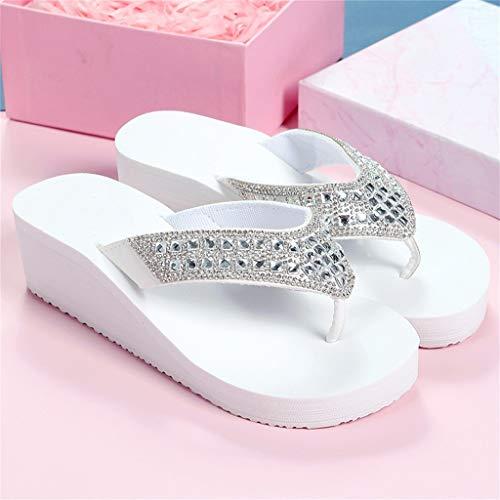 ZHXMYD Chanclas Slide Diamantes De Imitación De Moda Femenina De Verano Usan Tacón De Cuña De EVA con Fondo De Goma Antideslizante Flip-Flop