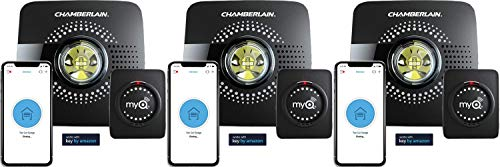 Chamberlain Group myQ Smart Garage Door Opener Chamberlain MYQ-G0301 - Wireless and Wi-Fi Enabled Garage Hub with Smartphone Control - Pack of 3