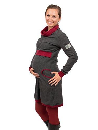Viva la Mama Umstandsmode Elegantes Kleid Stillkleidung Winter Kleid für die werdende Mutter aus Baumwolle Designkleid - Neele - grau Bordeaux - M