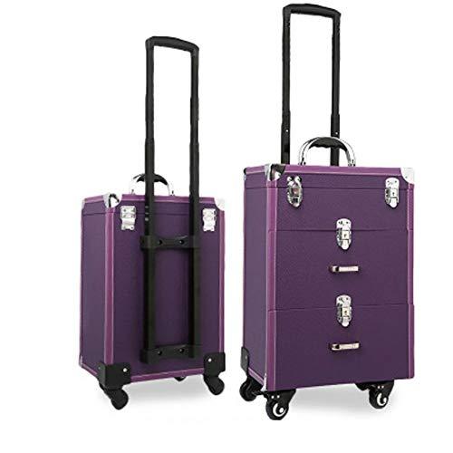 QINYUP Maquillage Chariot de roulement de beauté Train Carry Case Nail Case Maquilleur Grande capacité Valise Unisexe Multifonctions Tattoo Box,Violet