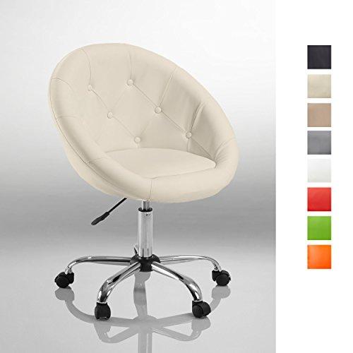 Schicker Rollhocker/Arbeitshocker/Bürostuhl Farbwahl - Hocker Drehstuhl TYP 509B, Farbe:Weiss, Material:Kunstleder