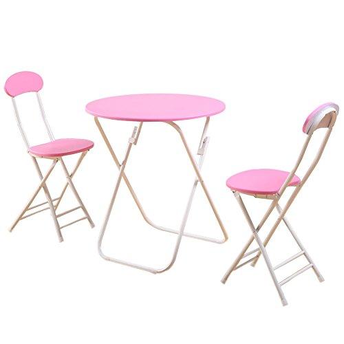 ZXL klaptafels en stoelen, 3-delig, familietafel en stoelen, rond, voor balkon, gemakkelijk te vervoeren en op te bergen, bruin, zwart, blauw, geel, roze, meubels (kleur: roze,