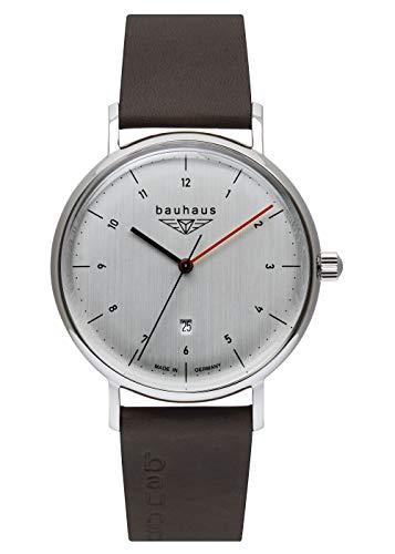 Bauhaus Herrenuhr Quarz mit Datum mit Lederarmband 2140