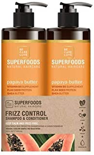 BCL Be Care Love Superfoods Papaya Frizz Control Shampoo, Conditioner Liter Duo