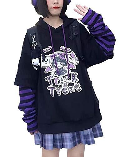 BZB Women's Halloween Cute Hooded Sweatshirt Harajuku Street Style Super Cute Fake Two Piece Pullover Purple