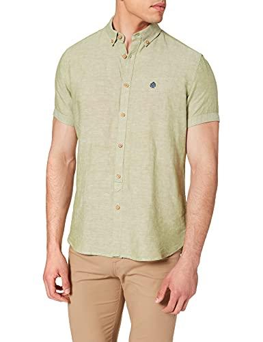 Springfield Camisa BÁSICA Manga Corta Lino ORGANICO, Verde, L para Hombre