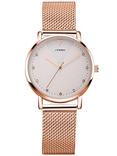 Alienwork Reloj Mujer Relojes Acero Inoxidable Banda de Malla Metálica Oro Rosa Analógicos Cuarzo Blanco Impermeable Strass Purpurina Elegante