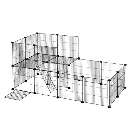 EUGAD Freigehege für Kaninchen Hasen Meerschweinchen Welpenauslauf Laufgitter mit Tür Doppelstöckig DIY 22 Platten Schwarz 140 x 70 x 70 cm 0031WL