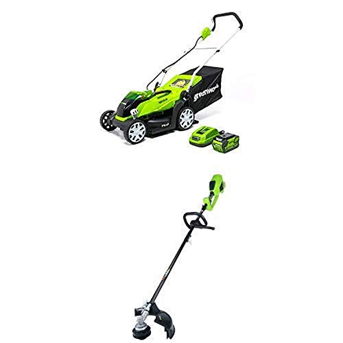 Buy Bargain Greenworks 14-Inch 40V Cordless Lawn Mower with 14-Inch 40V Cordless String Trimmer (Att...