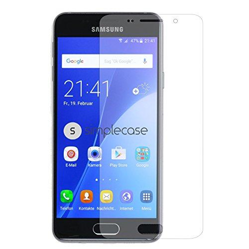 Simplecase Panzerglas passend zu Samsung Galaxy A3 (2016) , Premium Bildschirmschutz , Schutz durch Extra Festigkeitgrad 9H , Hülle Friendly , Echtglas / Verb&glas / Panzerglasfolie , Transparent - 1 Stück