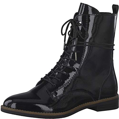 Tamaris Damen Stiefel, Frauen Schnürstiefel, weiblich Ladies Women's Women Woman Freizeit leger Boots Combat schnürung,Black PATENT,38 EU / 5 UK