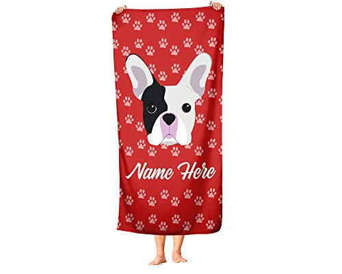 Personalized French Bulldog Beach and Bath Towels - Large and Medium Sizes - Custom Towel Travel Pool and Indoor Use Towels for Adults Kids Frenchie