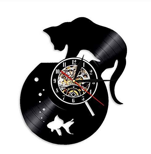 Reloj de Pared con Disco de Vinilo de Gato Negro y pecera, Hecho a Mano para Amantes de los Gatos, Personalidad, Animales, decoración, Relojes, Decoraciones navideñas