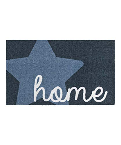 Zala Living Stern Home Blau 50x70 cm Fußmatte Schmutzfangmatte Sauberlaufmatte Türmatte Dekomatte, Polyamid, 50 x 70 x 0,7 cm