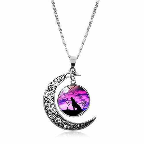 Regalo Luminoso Joyería Moda Luna Brillante Aullido Lobo Collar Resplandor en el Patrón Animal Oscuro(8)