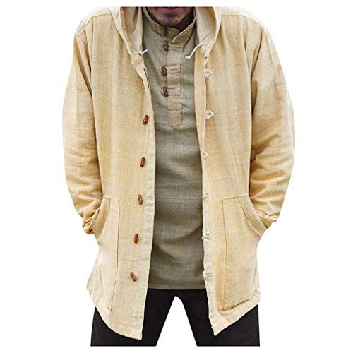 KPILP Herren Baumwolle und Leinen Sweatshirts Mantel mit Kapuze Hippie Loose Sweatshirt Button-down Herbst Jacke Langarm Pullover Hoodies Regular Fit