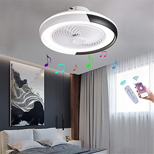 YAOXI - Lámpara LED de techo con ventilador Bluetooth silencioso, cámara de techo con luz y control de salón, regulable, 40 W, lámpara ventilador de techo, color negro
