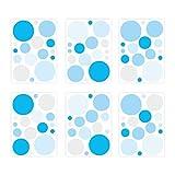 nikima Schönes für Kinder 136 Wandtattoo Punkte-Set blau hellblau grau - 96 Stück - Babyzimmer Kinderzimmer Sticker und Aufkleber Möbel- und Wanddeko Junge Mädchen