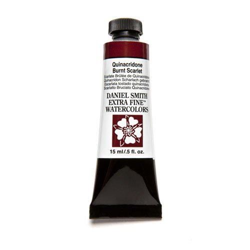 DANIEL SMITH 284600087 Extra Fine Watercolor 15ml Paint Tube, Quinacridone, Burnt Scarlet