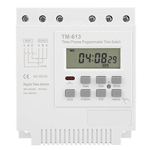 Sora Interruptor de Temporizador de 380 V, Mini Interruptor de Temporizador, relé de Tiempo programable de Tres Fases, batería Recargable incorporada programable semanalmente para Bomba de Agua