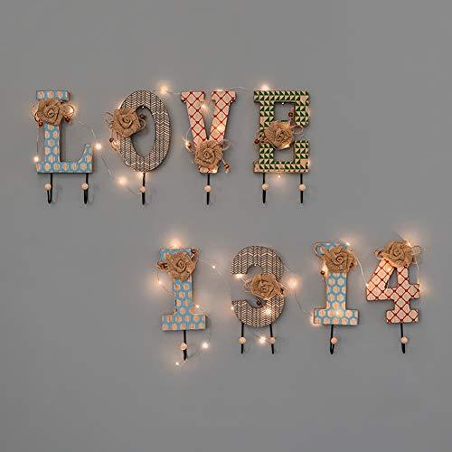 Hyxqyzz Garderobelijst met led-slingers, wandhouder met haken van metaal, rustiek, antislip, voor hal, badkamer, woonkamer, slaapkamer