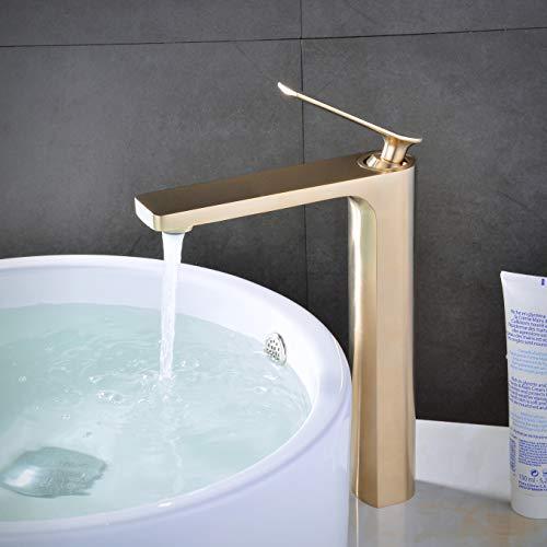 Leekayer Grifo del lavabo del baño Grifo de la barra de una sola manija Oro rosa cepillado Lavabo de montaje en 1 orificio, LK66828BGH