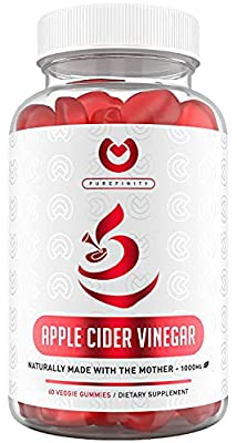 Purefinity Apple Cider Vinegar Gummies - Raw, Natural, Unfiltered ACV from The Mother - Gummy Alternative to Apple Cider Vinegar Capsules, Pills, Tablets - Detox, Cleanse & Immunity. by Omni Life