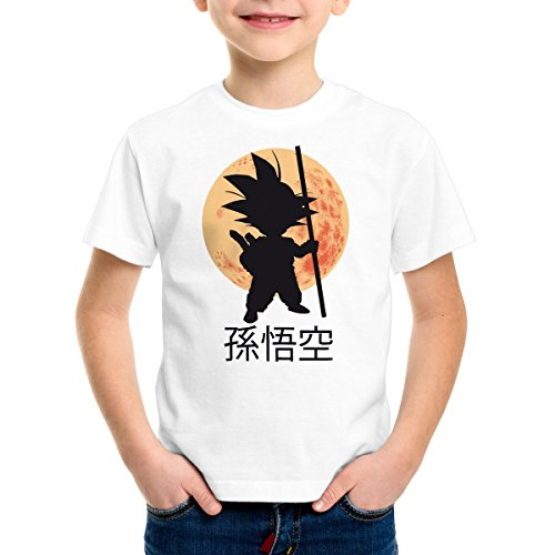 style3 Goku Moonlight T-Shirt pour Enfants, Color:Blanc;Talla:116
