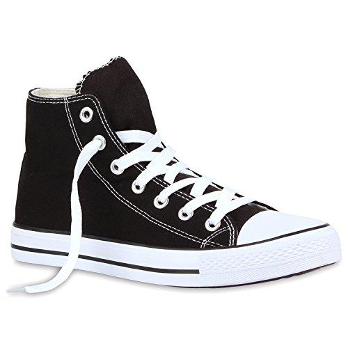 stiefelparadies Herren Sneakers Sneaker High Denim Stoff Freizeit Sportliche Herren Turn Schuhe 112847 Schwarz Denim 37 Flandell