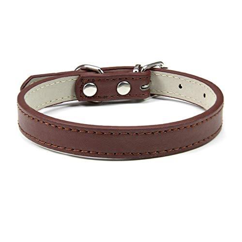 LWXFXBH Collar ajustable para mascotas Collar de gato y perro Collar de cuero para mascotas (color: café, tamaño: 1.0XS)