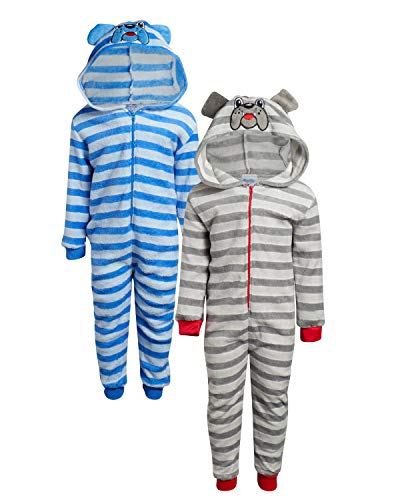 Mon Petit Baby Boys & Girls' Fleece Critter Hooded Onesie Pajamas - 2 Pack, Size 3T, Dog'