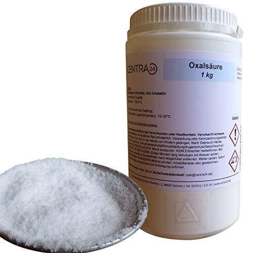 Centra24 Oxalsäure, 1KG in Dose, 99,6%, Kleesäure, Oxalsäure-Dihydrat, Holzreiniger, Pulver, Imker, Bienen, Reiniger, Rostflecken, Marmor polieren, Bleichmittel, Verdampfer