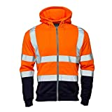 MyShoeStore Hi Vis Viz 2 Two Tone Hoody Sweatshirt High Visibility Workwear Jumper Reflective Tape Band Work Fleece Safety Sweat Shirt Warm Security Jacket Work Wear Top(Zip Hoody Orange Navy,XL)