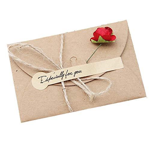 Festival Envelop wenskaart, creatieve DIY retro kraft papier handgemaakte grote droge bloem zegenende wenskaart verjaardagskaart, voor diverse festivals (5 PCS)