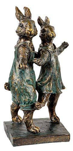 dekojohnson XXL Deko-Hase auf Sockel Hasenpaar tanzende Hasen Osterhase Gartenfigur Gartendeko Osterdeko Dekofigur-Tanzpaar Bronze-antik 42cm