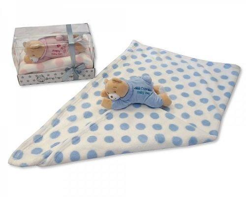 Bébé Garçon Bleu doux Ours en peluche en pyjama et couverture – Livré dans une boîte cadeau de