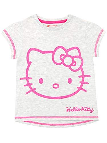 Hello Kitty Maglietta Maniche Corta per Ragazze Grigio 8-9 Anni