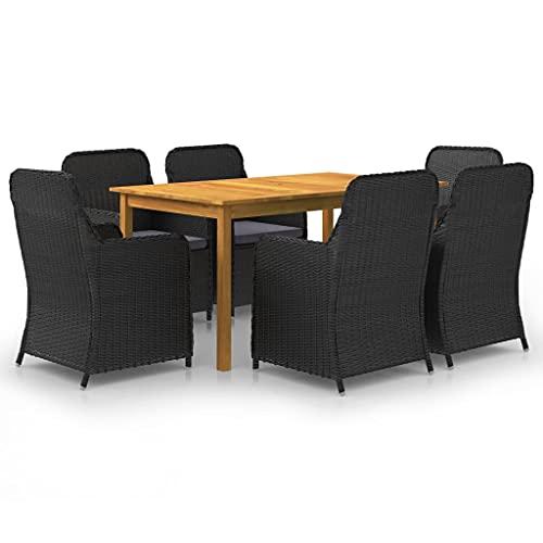 vidaXL Gartenmöbel Set 7-TLG. Sitzgruppe Sitzgarnitur Gartengarnitur Gartenset Tisch Stühle Gartensessel Sessel Gartentisch Schwarz