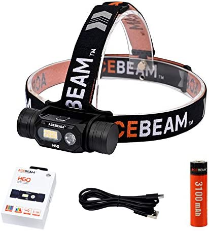 ACEBEAM H60 Compact Max 84% OFF Headtorch CRI>97 Rechargebl Direct USB Max 57% OFF with