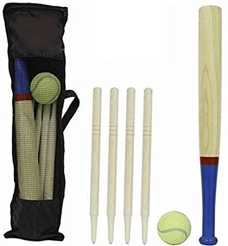 DIVCHI 6 Piece Wooden Rounders Set & Carry Bag - Baseball Bat & Soft Tennis...