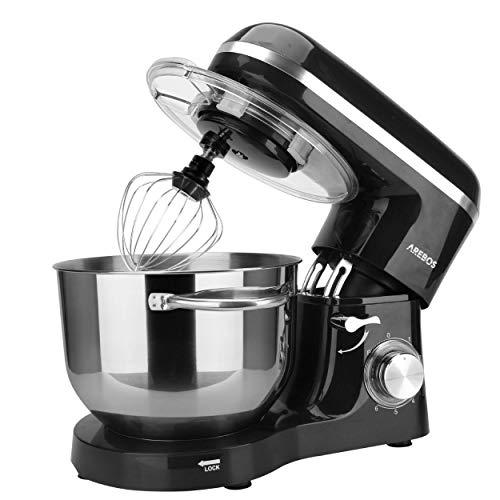 Arebos Küchenmaschine 1500W mit 6L Edelstahl-Rühlschüssel, Rührbesen, Knethaken, Schlagbesen und Spritzschutz, 6 Geschwindigkeit Geräuschlos Teigmaschine, Schwarz