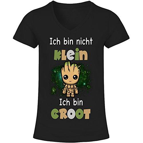 V-Ausschnitt T-Shirt Frauen - Ich Bin Groot (L)