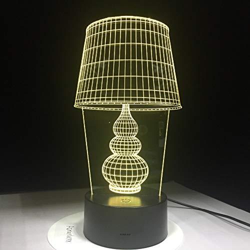 Jiushixw 3D acryl nachtlampje met afstandsbediening van kleur veranderende tafellamp voor Home Art Deco licht voor laptop oplaadbare tafellamp