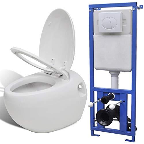 mewmewcat Inodoro Suspendido Pared con Cisterna Oculta - Color de Blanca Material de Cerámica 41x59x39 cm