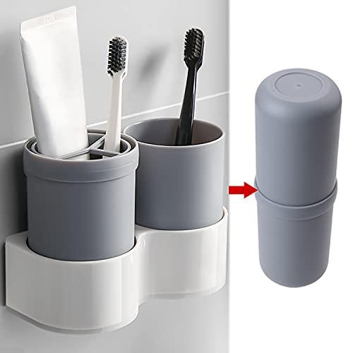 Soporte para cepillo de dientes, par de cepillos de dientes montado en la pared, soporte para cepillo de dientes eléctrico para baño, soporte de maquinilla de afeitar (2 tazas, gris)