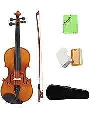 ammoon セット アコースティック バイオリン 純木 スプルース 初心者入門セット ヴァイオリン 気軽に演奏