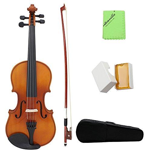 Andoer® Violín Acústica 4/4 Madera Maciza Chapa Picea Flame Arce para Estudiante Principiante Artista con Funda Colofonia Regalo de Navidad