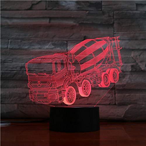 DJKAA vrachtwagen mixer 3D stereo lamp slaapkamer LED sferen bedlampje nachtlampje USB cadeau voor kinderen